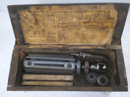 VINTAGE, HALL-TOLEDO 2X CYLINDER HONE, WITH DRILL ATTACHMENT, DIRECTIONS & BOX