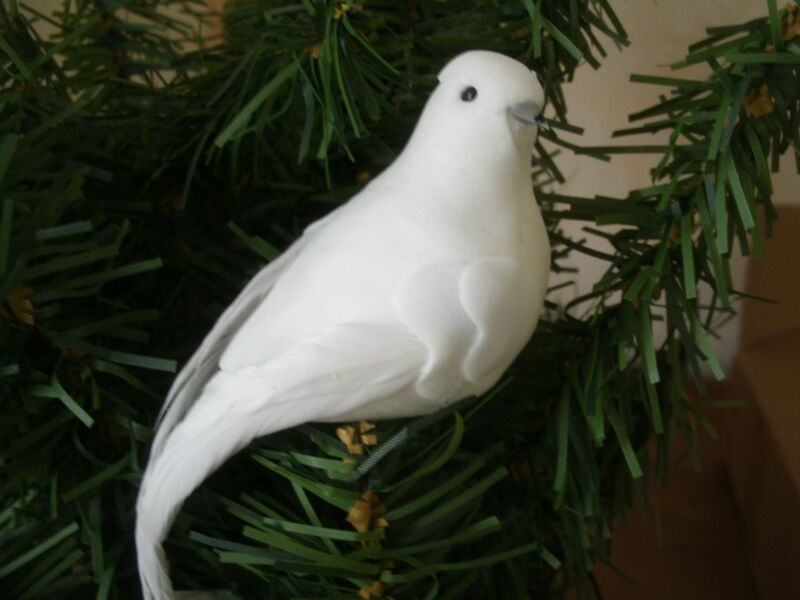 "Lot of 6 White DOVE Feather Mushroom Birds Christmas wedding decor: 3"" long NIP"