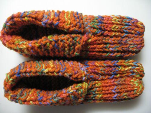 "NWOT Amish Handmade House Slippers Orange Rainbow Mix Mans Sm Ladies Med 8 3/4"""