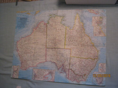 VINTAGE AUSTRALIA POLITICAL & PHYSICAL MAP National Geographic 1968