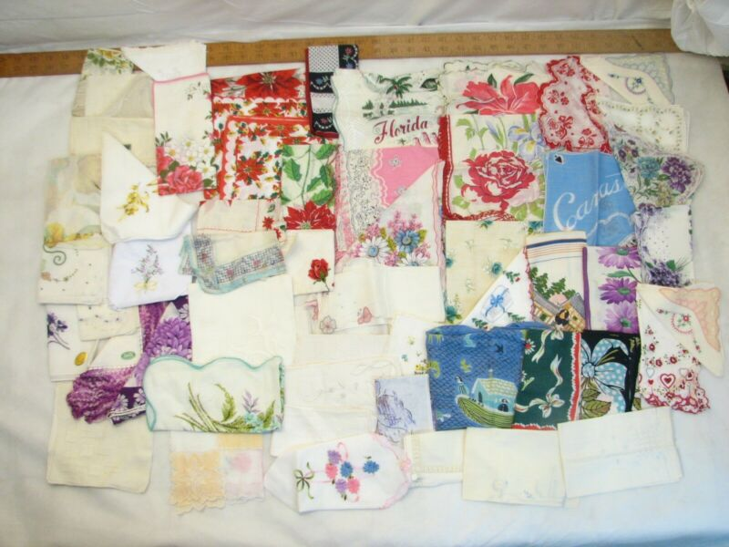 Lg Lot 55+ Vintage Embroidered Ladies Handkerchiefs Lace Hanky Hankie Floral