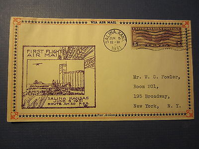 Old 1931 First Flight AIRMAIL COVER - SALINA KANSAS - Route AM30