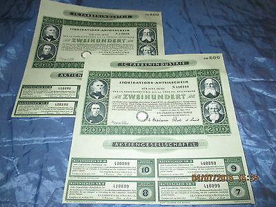 134 : 2 x Wertpapier / historisch , I.G. FARBEN , März 1953 , Frankfurt , 98+99