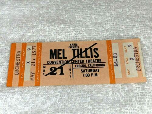 MEL TILLIS SHOW 1977 UNUSED CONCERT TICKET FRESNO CALIFORNIA THEATER USA