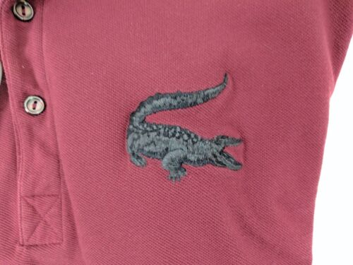 LACOSTE SIZE 7 (XL) RARE LARGE GATOR SHORT SLEEVE MAROON POLO DISCOLOR 1 ARMPIT