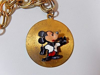 30s 40s WALT DISNEY PRODUCTIONS 3D ENAMEL MICKEY CHARM FOB PENDANT ON BRACELET