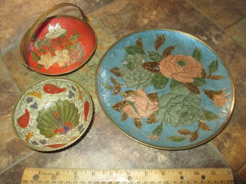 Cloisonne Brass Enamel India Asian 3 Bowl Plate Multi Colored Roses Peacock Lily