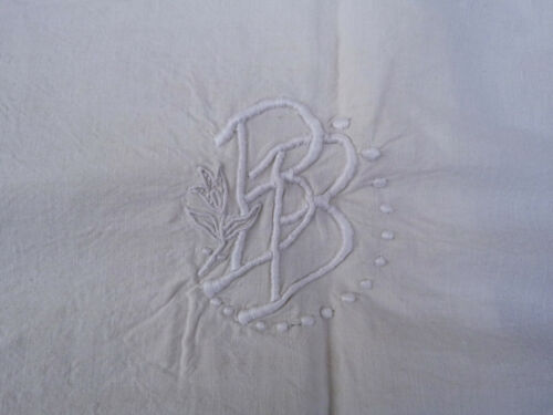 Vintage French 1920 bedding pure linen cream sheet embroidered monogramme