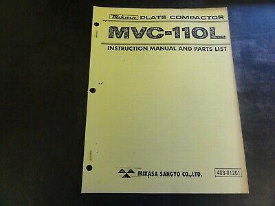 Mikasa Mvc-110l Plate Compactor Instruction Manual Parts List Manual