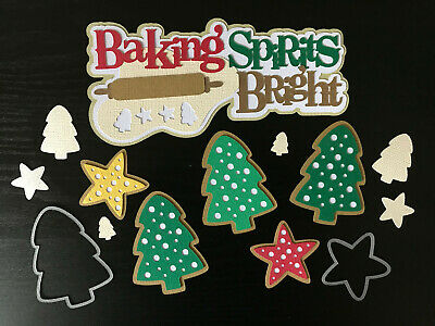 Baking Spirits Bright 8 Piece Set Christmas Tree Star Cookies Scrapbooking  ()