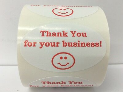 Labels And More 1.25 X 2 Oval Thank You For Your Business 500 Red-wh Stickers