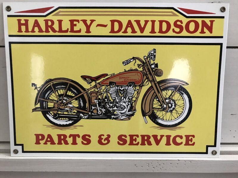 1980s HARLEY DAVIDSON JD 1928 Motorcycle Parts Service PORCELAIN Enamel SIGN