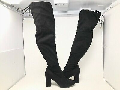 NEW! SO Women's Lady Bug Over The Knee Block Heel Boots Black #12764 191C