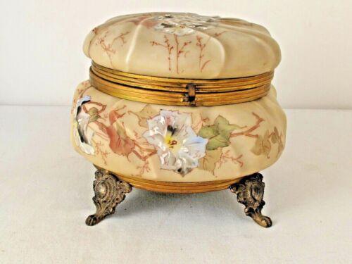 "Antique C.F. Monroe  Wave Crest Opal Ware Trinket Dresser Box Large 7 3/8"" X 6"""