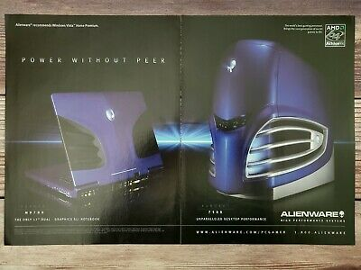 Vintage Aurora M9700 & 7500 Alienware Gaming PC Computers Promo Ad Print Poster
