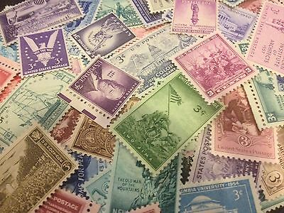 50 MNH OLD All Different 3 cent stamps--SINGLES