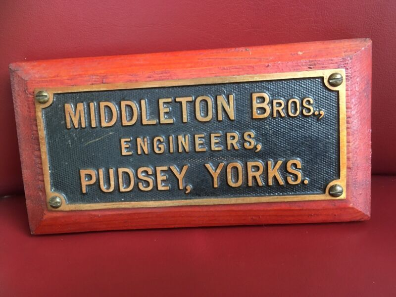 Original old industrial Cast Brass Plaque Sign Middleton Bros Pudsey