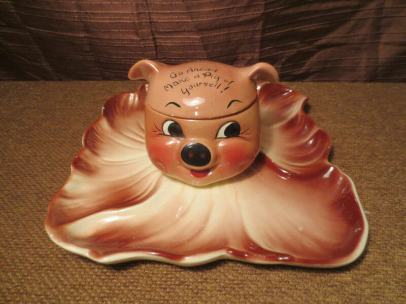 """DeForest Of California """"Go Ahead Make A Pig Of Yourself"""" Pig Jar & Serving Tray"""