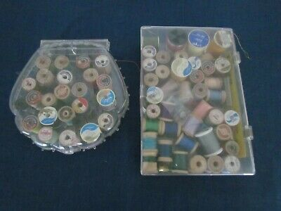 VINTAGE SEWING THREAD  60 SPOOLS PLUS CONTAINERS