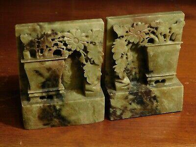 """Soapstone Floral Garden Bookends Vintage Deep Carved 5"""" Planter Flower"""