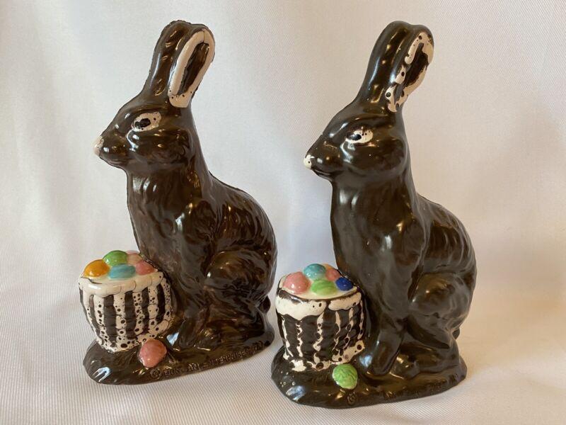 2 Vtg 1979 Duncan Ceramic Hand Painted Chocolate Easter Bunny Rabbit Basket Eggs