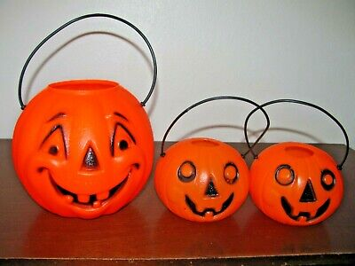 "VINTAGE HALLOWEEN BLOW MOLD TRICK OR TREAT PUMPKINS~LOT OF 3~SMALL SIZES 3"" & 5"""