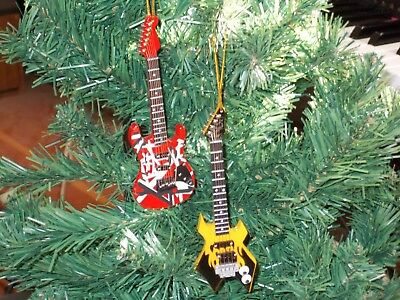 Guitar Christmas Tree Ornament - Red lead and yellow warlock bass guitar Christmas tree ornament set