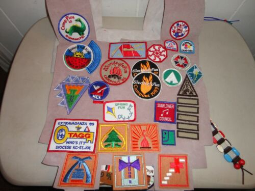 Vintage Camp Fire Girls Ceremonial vest/collar fringe beads patches pins