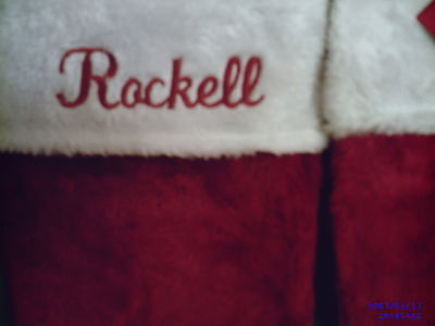 PERSONALIZED ,MONOGRAMED ,, PLUSH,,RED & WHITE , CHRISTMAS STOCKINGS 18 '' TALL