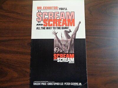 SCREAM AND SCREAM AGAIN 1970 ORIGINAL MOVIE PRESSBOOK V PRICE C LEE P CUSHING