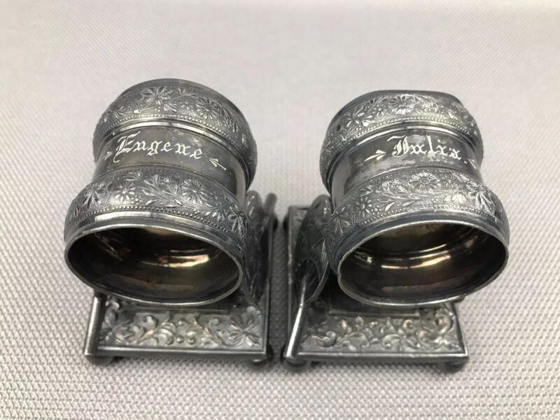 2 Antique Meriden Britannia Figural Napkin Rings Japonesque Fans 208