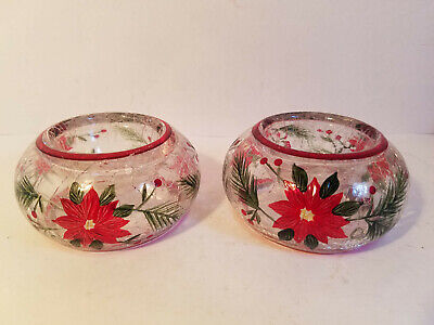 Lot of 2-Yankee Candle Crackle Glass Poinsettia Christmas Votive Tealight Holder