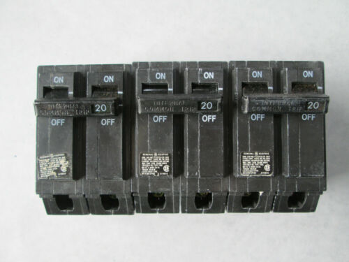 Lot of 3 NOS General Electric THQL2120 Circuit Breakers (20A, 120/240V, 2 Pole)