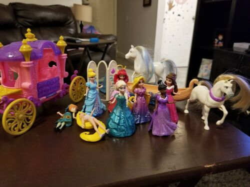 Disney Princess Dolls Lot W/ Cinderella Carriage, Rapunzel Boat, Rapunzel Horse - $11.50