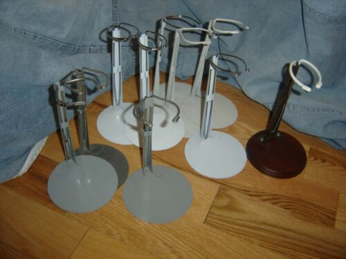 """Lot of 9 METAL Kaiser & 1 Wood  DOLL STANDS for 12""""- 18"""" Teddys & Chubby Dolls"""