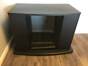 Black TV Stand with shelves and pull out drawers
