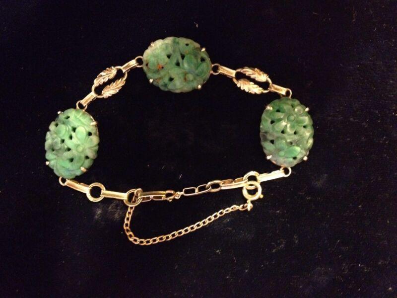 Antique/Vintage 14 K Gold Carved And Pierced Jade Bracelet!