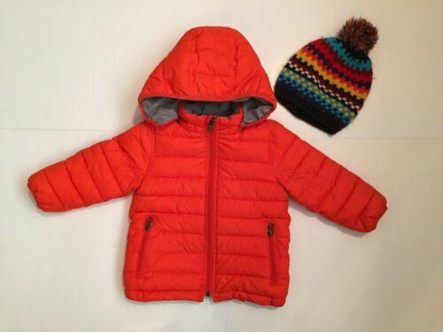Toddler GAP lot reversible hooded puffer jacket orange/grey& striped pom hat 2T