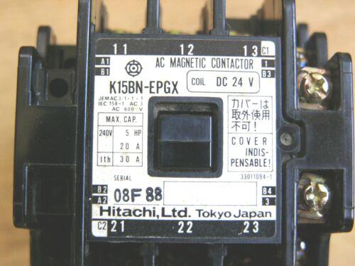Lot of 2 Hitachi AC Magnetic Contactor K15BN-EPGX 600VAC 30A Coil 24V DC