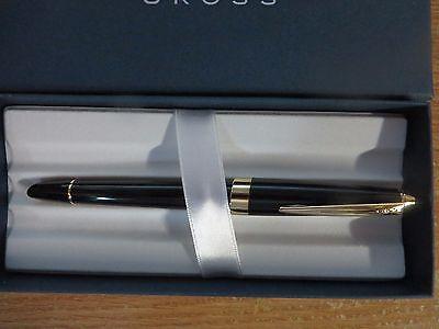 Cross Aventura Black lacquer Fountain Pen 23kt Gold plated Appts Med Nib $89.00