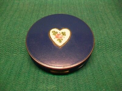 ANTIQUE METAL POWDER BOX WITH CERAMIC HEART MOUNTED IN LID