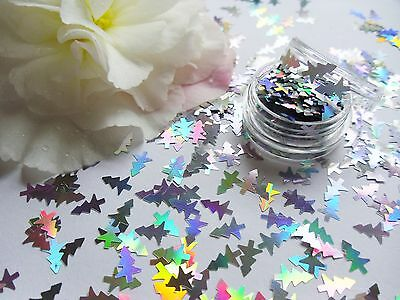 Nail Art Sparkle Holographic *Silver Xmas Trees* Pot Spangle Glitter Decorations