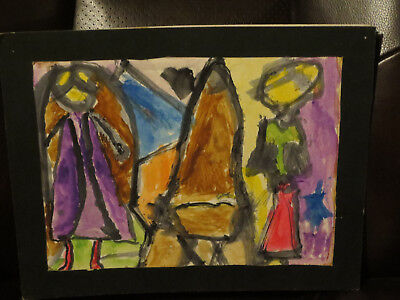 14 Personalized Kids Art (Child Art Abstract 11 x 14 Self Matted Watercolor Nativity Impressionism )