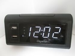 Capello Double Charge Alarm Clock Dual USB Phone Charging Ports CA-20 Black