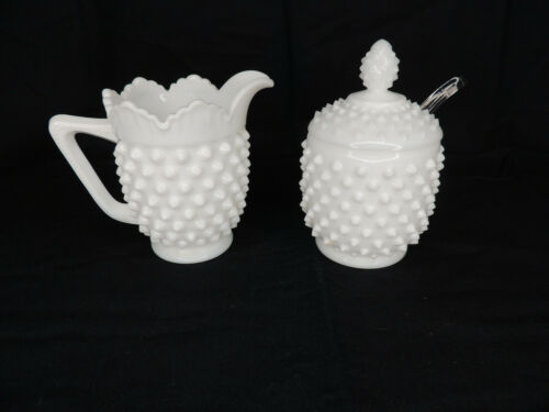 Vintage Fenton White Milk Glass Hobnail Creamer, Covered Sugar & Glass Spoon