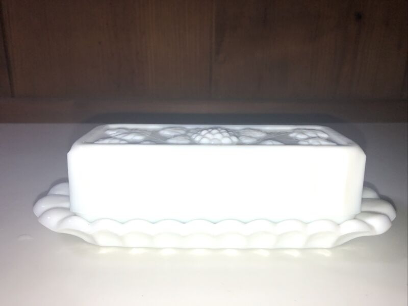 Vintage Westmoreland Butter Dish White Milk Glass Paneled Grapes with Cover