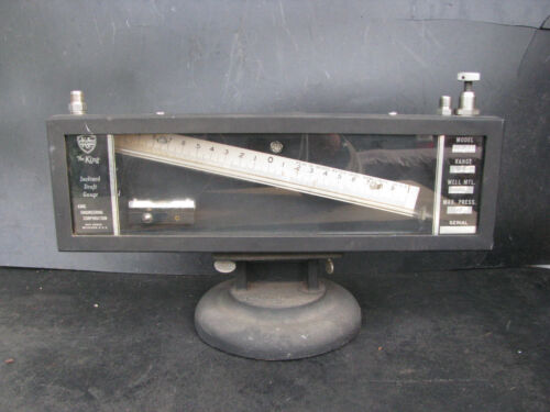 KING INCLINED MANOMETER w LEVELING STAND -1 to +1 in. vintage BOILER DRAFT GAUGE