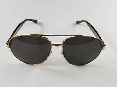 GUCCI GG0054S 001 VINTAGE GOLD BLK TEMPLE UNISEX AVIATOR SUNGLASS MADE IN ITALY