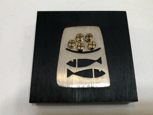 "Emaus Talleres Monasticos Sterling Silver Religious Plaque, Mexico 3 1/4"""