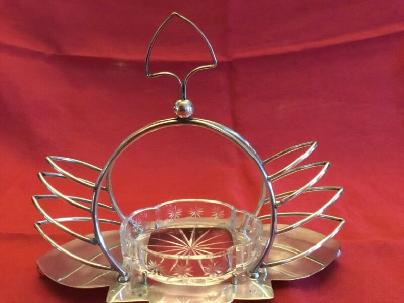 SHEFFIELD SILVER TOAST MUFFIN RACK w/ CUT GLASS INSERT! Made In England!